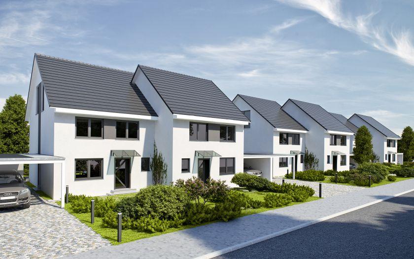 """Straßenansicht Doppelhäuser Projektentwicklung """"Am Golfplatz"""" In Warnemünde / Diedrichshagen"""