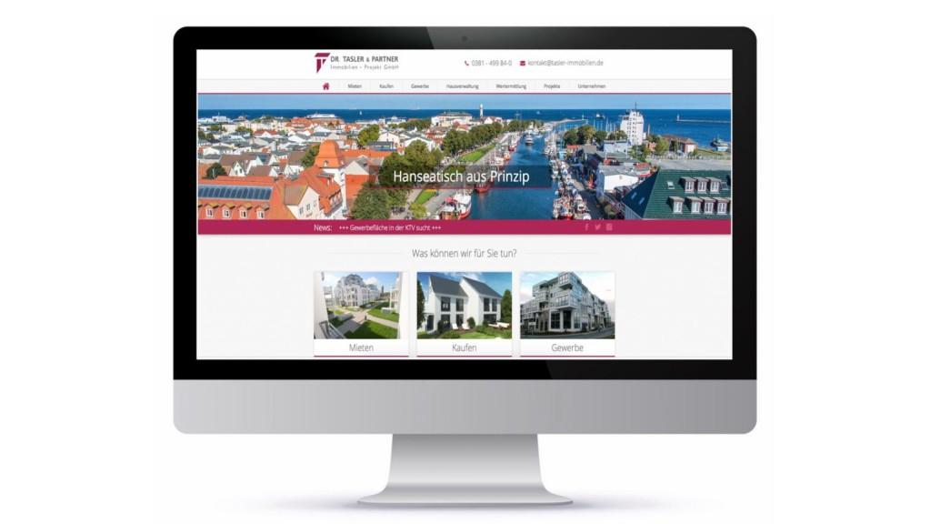 Tasler Immobilien Website Ansicht