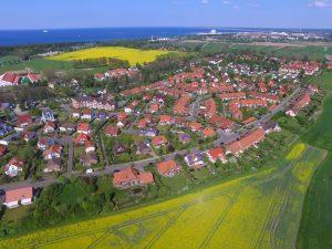 Luftaufnahme Diedrichshagen mit Blick auf die Ostsee und Warnemünde